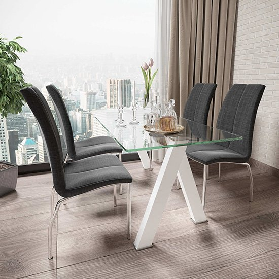 Criss Cross Glass Dining Set With 4 Boston Charcoal Chairs