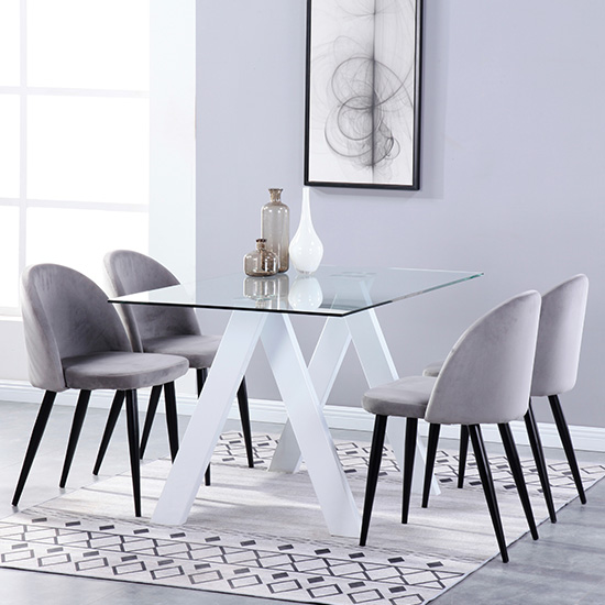 Criss Cross Glass Dining Set With 4 Candy Grey Velvet Chairs_1