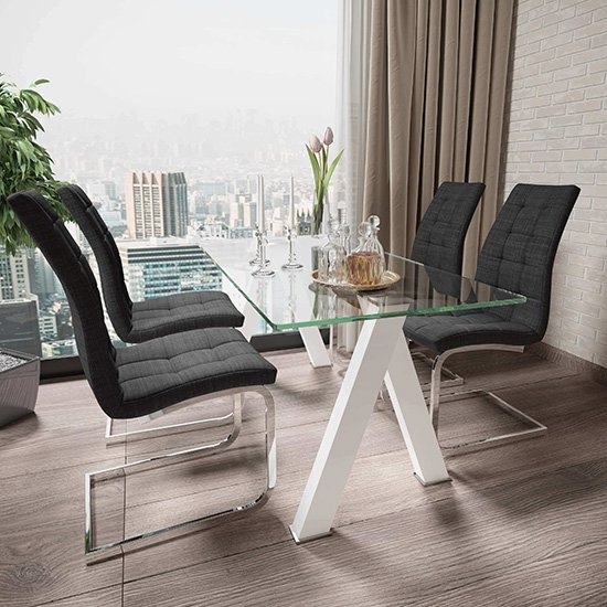 Criss Cross Glass Dining Set With 4 New York Charcoal Chairs