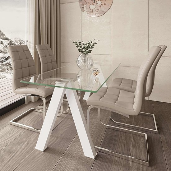 Criss Cross Glass Dining Set With 4 New York Mink Chairs