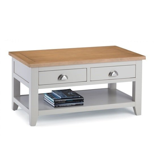 Christie Wooden Coffee Table Rectangular In Oak Top And Grey