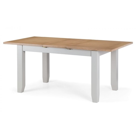 Christie Wooden Extendable Dining Table In Oak Top And Grey