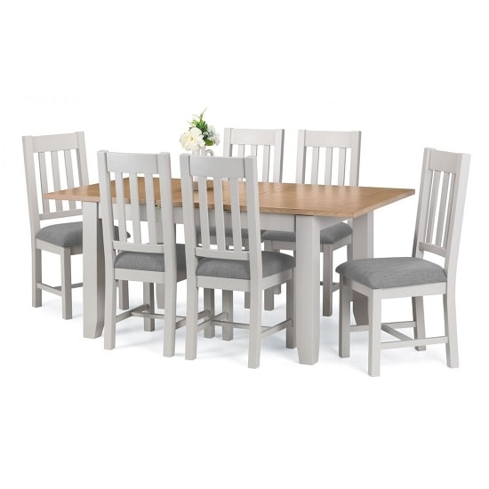 Christie Extendable Dining Table In Oak Top Grey With 6 Chairs_2