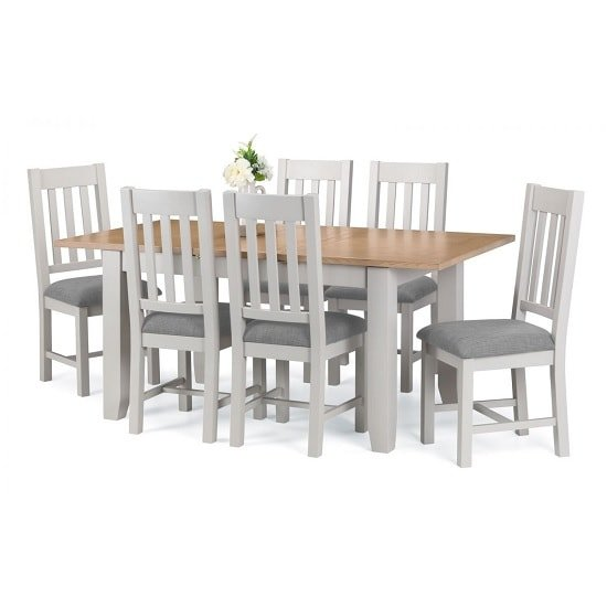 View Christie oak top extendable dining table in grey with 4 chairs