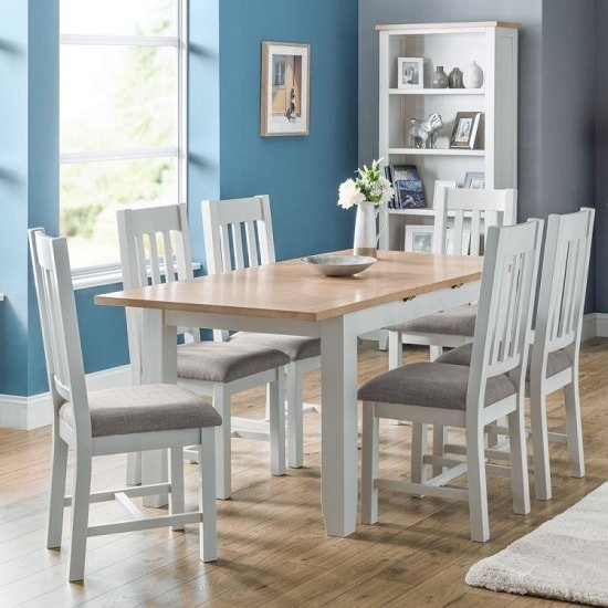 Christie Extendable Dining Table In Oak Top Grey With 6 Chairs