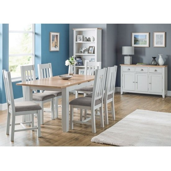 Christie Oak Top Extendable Dining Table In Grey With 4 Chairs_2
