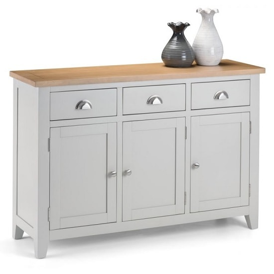 View Christie wooden sideboard in oak top and grey with 3 doors