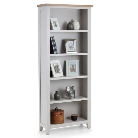 Christie Wooden Tall Bookcase In Oak Top And Grey_2