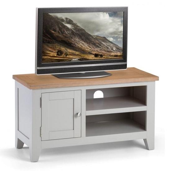 Christie Wooden TV Stand In Oak Top And Grey With 1 Door