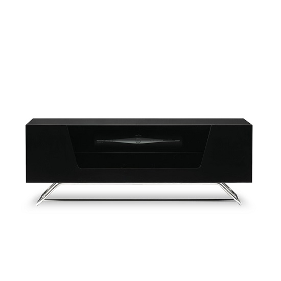Romi LCD TV Stand In Black With Chrome Base_6
