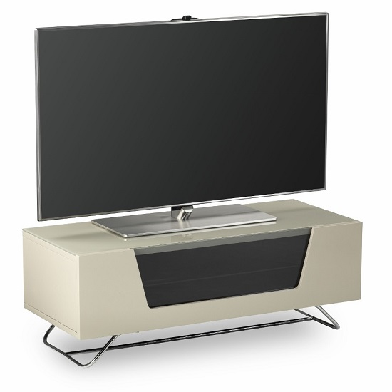 Romi LCD TV Stand In Ivory With Chrome Base_5