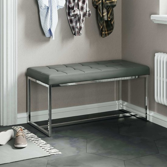 Croatia Dining Bench In Grey PU Leather With Chrome Legs
