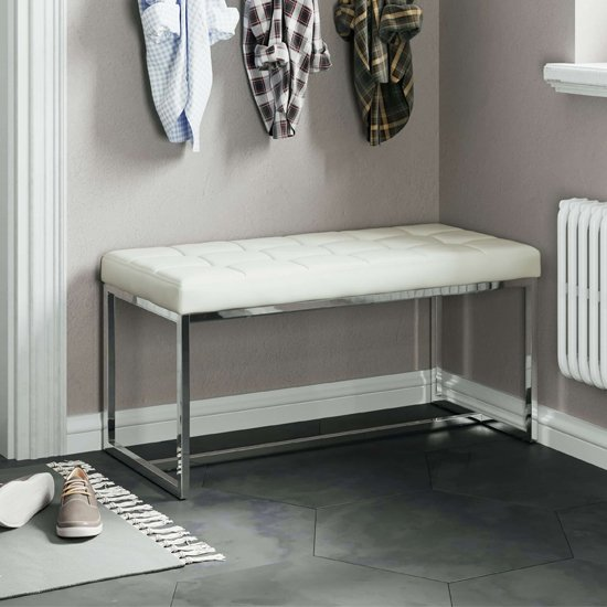 Croatia Dining Bench In White PU Leather With Chrome Legs