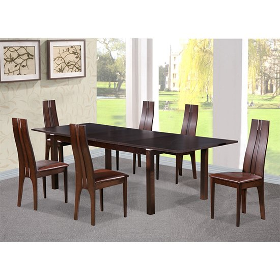 Croft Wooden Dining Set In Dark Walnut With 6 Solid Beech Chairs