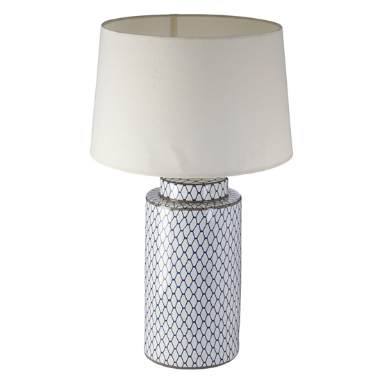 Crola Cream Fabric Shade Table Lamp With White Cylindrical Base_2