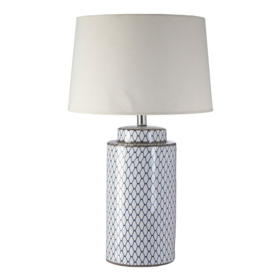 Crola Cream Fabric Shade Table Lamp With White Cylindrical Base_1