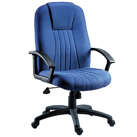 Cromer Home Office Chair In Blue Fabric With Castors