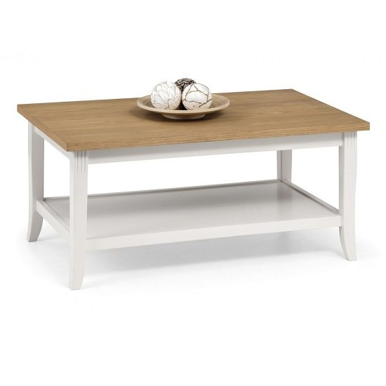 Cromley Coffee Table In Ivory Laquered With Oak Top
