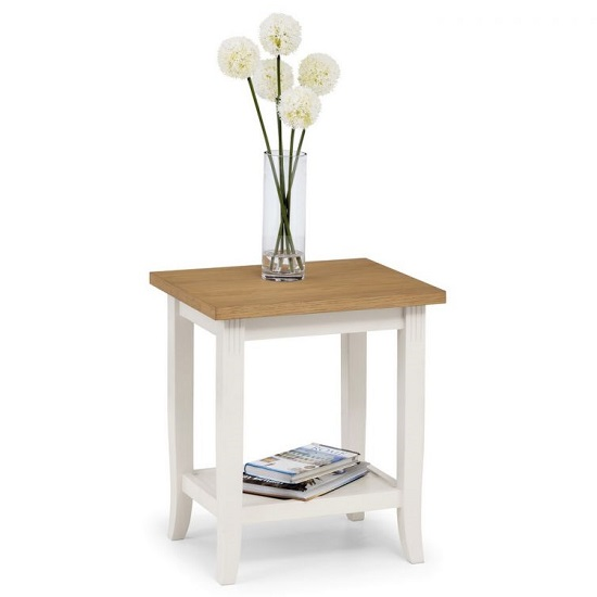 Cromley Wooden Lamp Table In Ivory Laquered With Oak Top_1