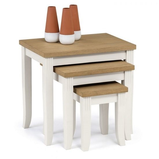 Cromley Nest Of Tables In Ivory Laquered With Oak Top_1