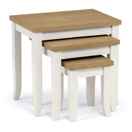Cromley Nest Of Tables In Ivory Laquered With Oak Top_2