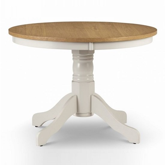 Cromley Round Dining Table In Ivory Laquered With Oak Top