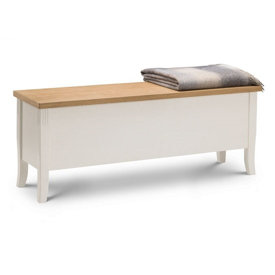 Cromley Storage Bench In Ivory Laquered With Oak Top
