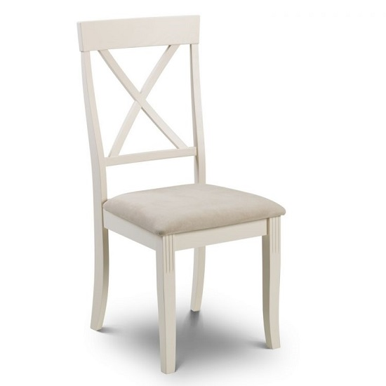 Cromley Wooden Dining Chair In Ivory Laquered Finish