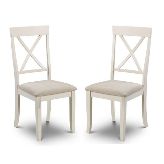 Cromley Wooden Dining Chairs In Ivory Laquered In A Pair