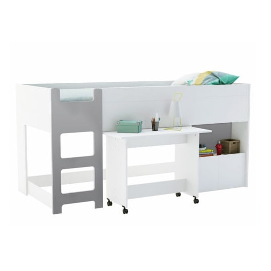 Crosby Wooden Children Bed In White And Grey With Desk