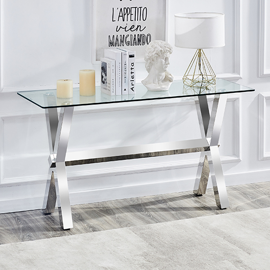 View Crossley rectangular clear glass console table