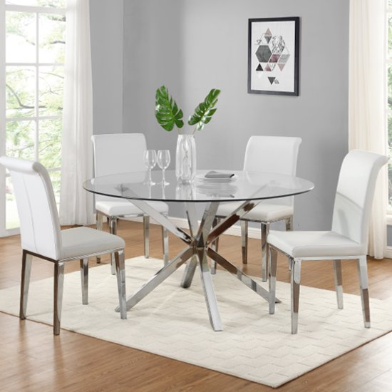 Crossley Round Glass Dining Set With 4 Kirkland White Chairs