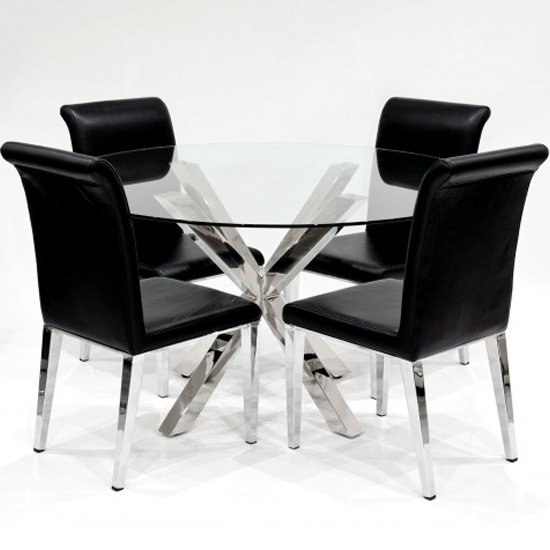 Crossley Round Glass Dining Set With 4 Kirkland Black Chairs_2