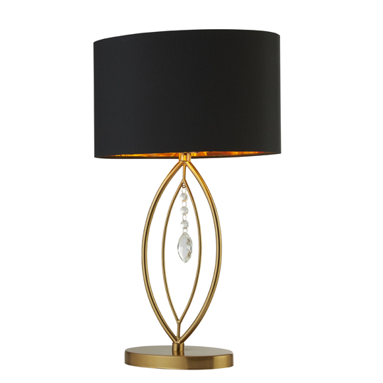 Crown Gold Table Lamp In Black Oval Shade