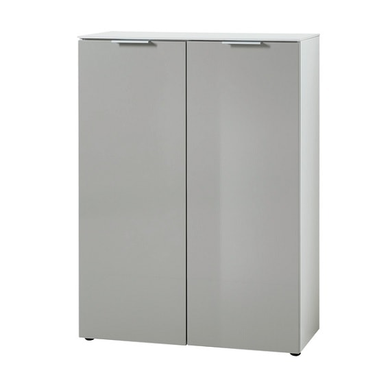 Croydon Shoe Storage Cabinet In White And Silk Grey Gloss Fronts_3
