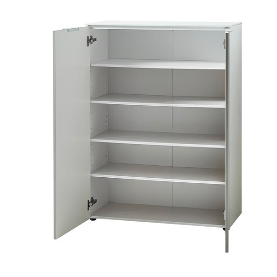 Croydon Shoe Storage Cabinet In White And Silk Grey Gloss Fronts_2