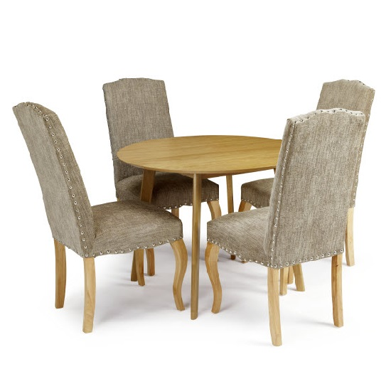 Ruby Dining Table In Oak With 4 Madeline Chair In Bark Fabric