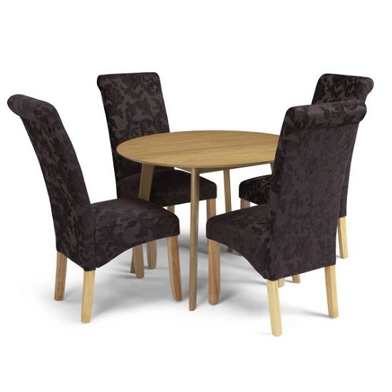 Ruby Dining Table In Oak With 4 Ameera Chair in Floral Aubergine