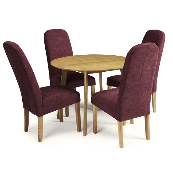 Ruby Dining Table In Oak With 4 Jennifer Chair In Shiraz Fabric