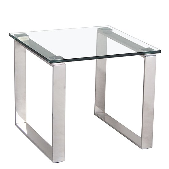 Crucis Clear Glass Lamp Table With Stainless Steel Legs