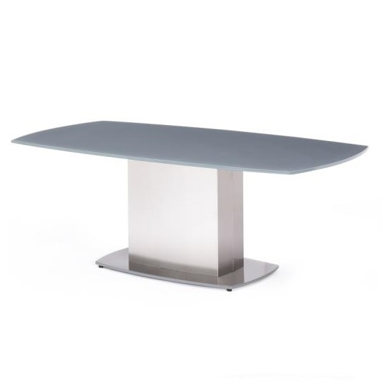 Cruise Coffee Table In Grey Glass And Brushed Stainless Steel