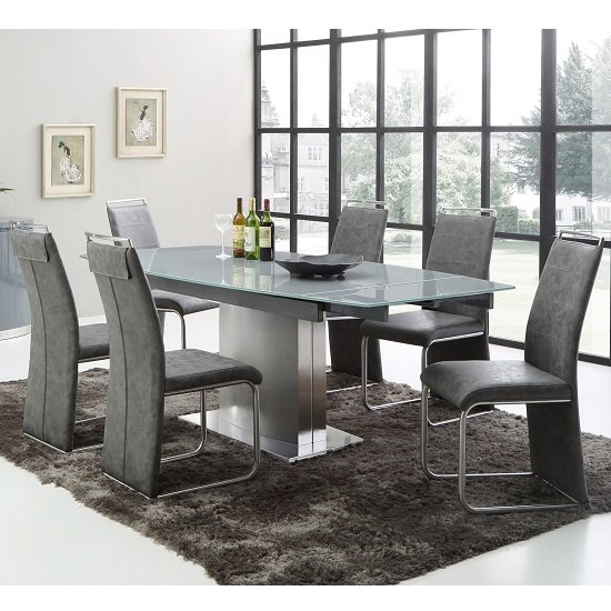 Cruise Extendable Dining Table In Grey Glass And 6 Dining