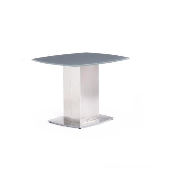 Cruise End Table In Grey Glass And Brushed Stainless Steel