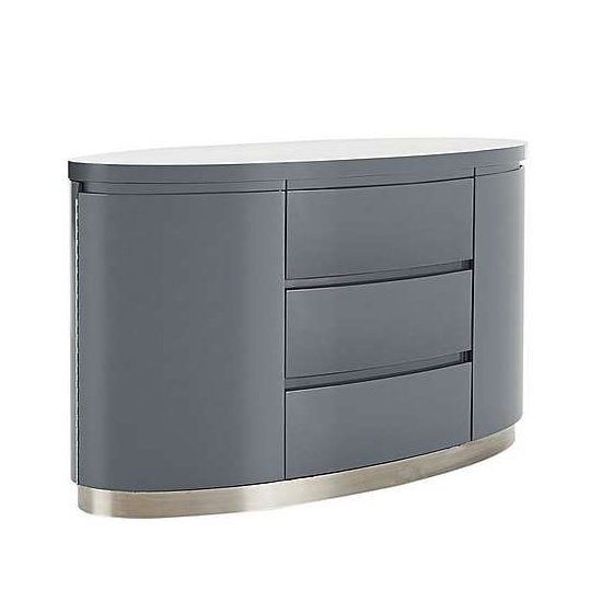 Cruise Modern Sideboard In Grey High Gloss With 3 Drawers_3