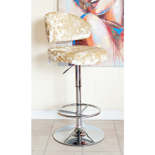 Crushed Velvet Bar Stool In Chalk With Chrome Base