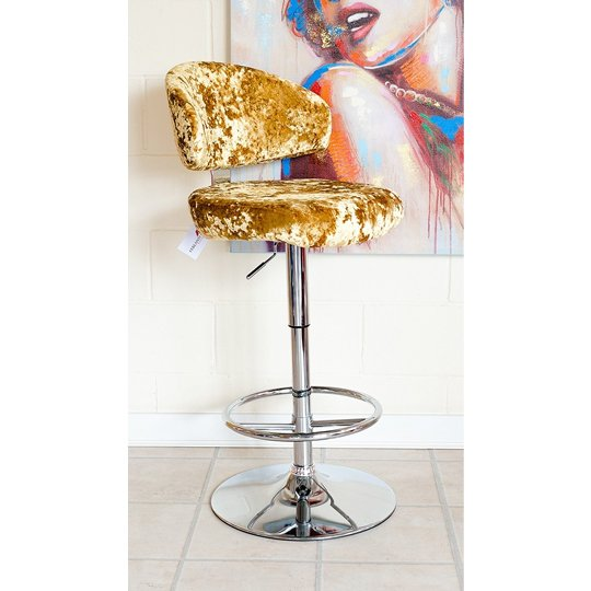 Crushed Velvet Bar Stool In Gold With Chrome Base