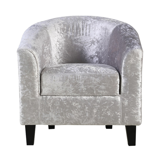 Crushed Velvet Tub Chair In Silver