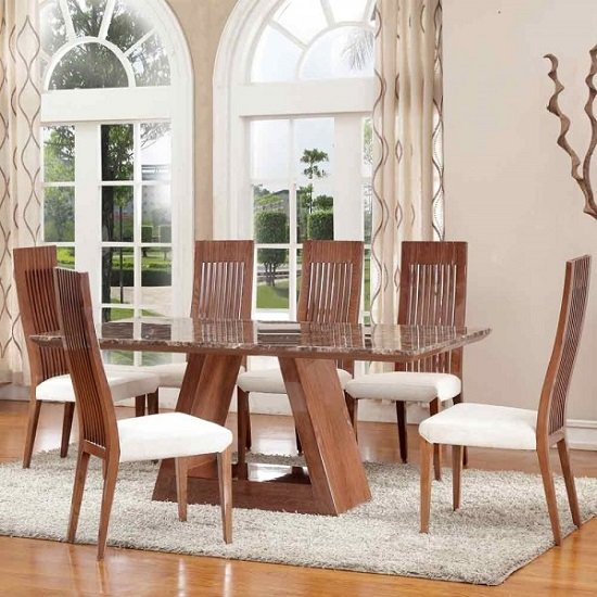 Cruise Marble Dining Table With Walnut Gloss Base With 8 Chairs