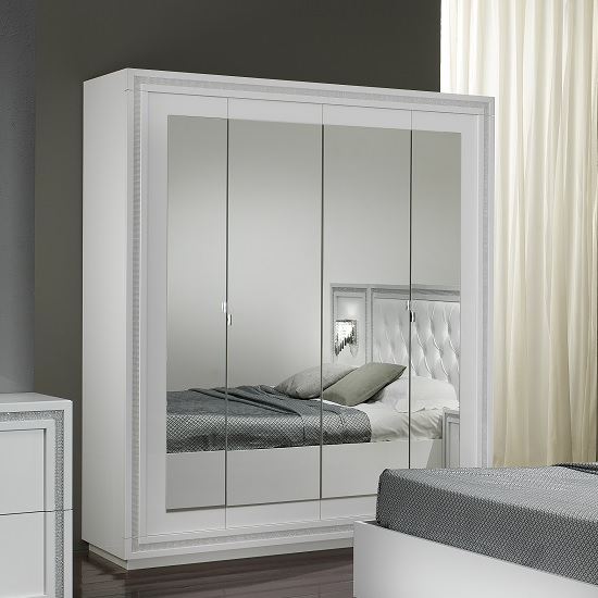 Chloe Mirrored Wardrobe In White Gloss With Crystal Effect Trim