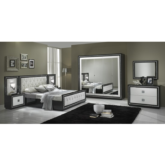 Chloe Mirrored Wardrobe In Black White Gloss With Crystal Trim_2
